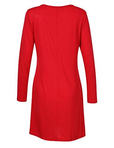YesFashion Damen Kleid Minikleid Pullover Sweatshirt Oberteil Tops Langarmshirt Schwarz
