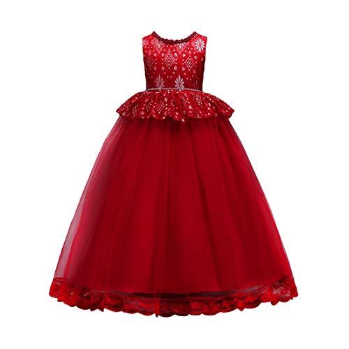 Zhhlaixing Prinzessin Kleid für Mädchen - Mädchen Brautjungfer Kleid ärmellose Schleife Gaze Formale Hochzeit Taufe Kleid Prinzessin Mädchen Kleider Kid Kleidung 5-16 Jahre