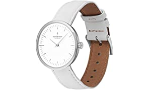 Nordgreen Infinity Scandinavian Silver Unisex Analogue 32mm (Small) Watch with White Leather Strap 10051