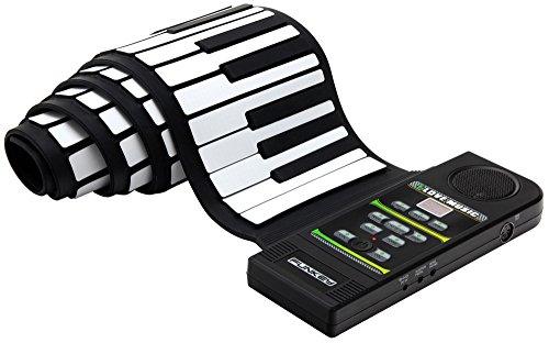 Funkey RP-88 Rollpiano (88 Tasten, Aufnahmefunktion, MIDI, 128 Sounds, 100 Rhythmen, 23 Demo Songs, Batterie- und Netzbetrieb möglich, inkl. Netzteil und Sustain-Pedal) schwarz