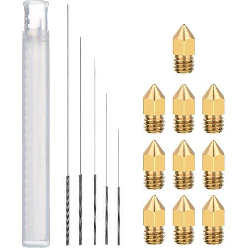 10 Stücke MK8 Düse Extruder Druckkopf 5 Größen und 5 Stücke 3D Drucker Düse Reinigung Kit Bohrer für 3D Drucker Düse
