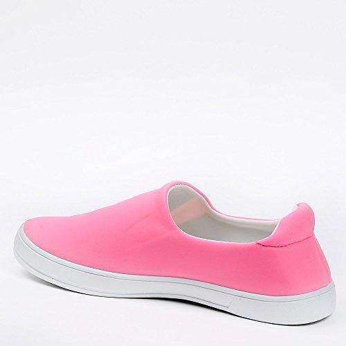 Ideal Shoes Slip-on in neoprene Kaina Fuchsia