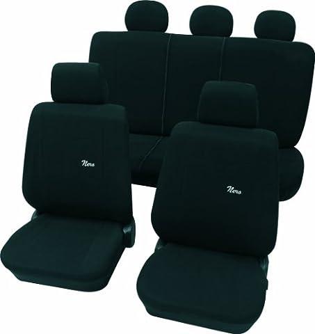 Cartrend 60214 Nero Black Sitzbezug-Komplettset, Schwarz, mit Dokunaht, Seitenairbag-geeignet, 11