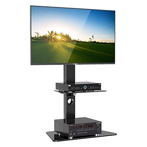 1home LCD/LED TV Fernseher Ständer Stand Fernsehtisch Standfuss Glas Standfuß Halterung Höhenverstellbar Fernsehstand LED Flachbildschirm Rack Tischständer für 30-50 Zoll -