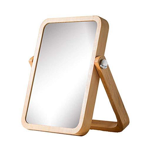 Kiefer Schminktisch Spiegel (ZMJZHZJ Home Desktop Schminktisch Desktop Schminkspiegel Vertikaler Schminkspiegel Tragbarer Schminkspiegel Kiefer Rahmen - Einstellbare Dreh High Definition,Gold,Groß)