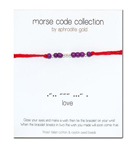 Love Code Red-Bracciale Morse Braccialetto in corda