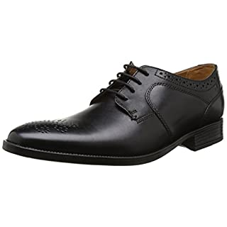 Clarks Kalden Edge, Herren Derby Schnürhalbschuhe, Schwarz (Black Leather), 43 EU (9 Herren UK)