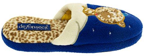 De Fonseca Mädchen Miciomiao Katze im Schnee Pantoffeln Blau