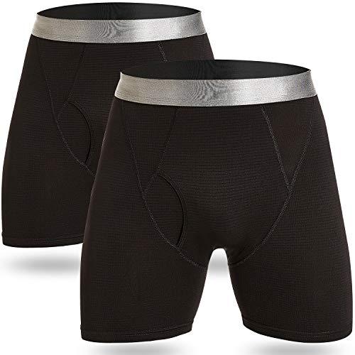 GRAT.UNIC Herren Boxershorts,Unterhosen, 2er Pack Klassisch für Sport und Freizeit, Super Weich,Unterwäsche Unterhose Underwear Männer,Enganliegend Gummibund (2er Pack Schwarz, XL)