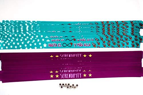 Pulseras de tela con mensaje personalizadas en pack de 50 unidades para bodas, despedidas, comuniones, cumpleaños