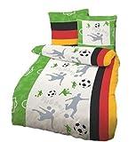 Bettwäsche Fußball Deutschland 135x200 cm Renforcé / Linon (100% Baumwolle) Fußballbettwäsche