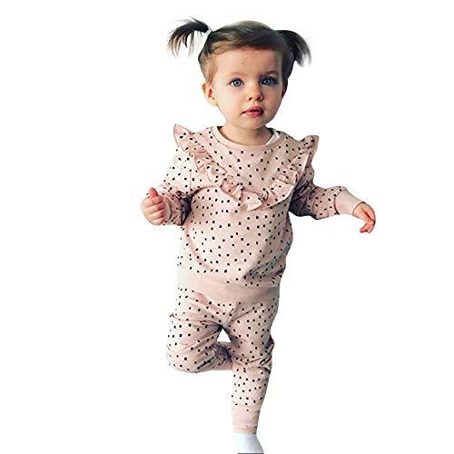 Selou Baby Polka Dot gekräuseltes T-ShirtTops + Hosen Kleidung Süße rosa Polka Dot langen Ärmeln Hosen Schlafanzug aus Baumwolle Niedlicher Pullover Hemd grundiert Kletteranzug - Rosa Polka Dot Kleidung