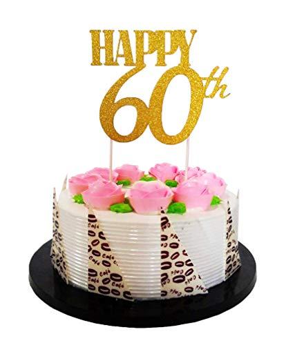 E&L Gold Glitzer Happy 60th Birthday Tortenaufsatz - Forever 60 Party Favors - 60. Geburtstag Party Dekoration
