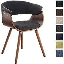 CLP Silla de espera PIRMA, estructura en nogal y tapizada en tejido, mezcla de materiales de madera y tejido, altura del asiento 46 cm gris oscuro