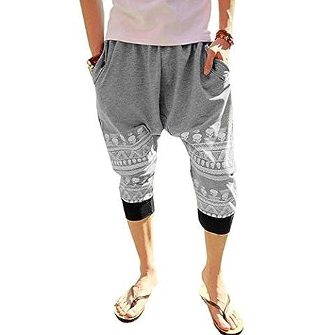 Minetom Herren Jungen Hippie Haremshose Jogginghose Tanz Trainingshose Freizeit Skinny Hose ( Grau EU M )