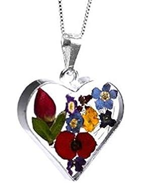 Shrieking Violet: Kettenanhänger - Gemischte Blüten - Herz - 925 Sterling Silber - 45 cm Kette