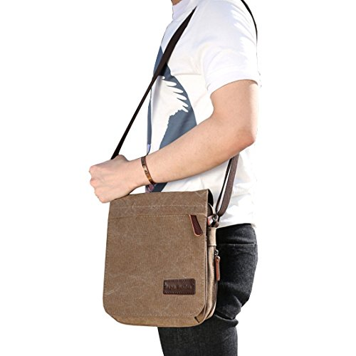 Super Modern Umhängetasche, Laptop-Tasche, Computer-Tasche, aus Segeltuch, für Männer und Frauen, Herren, Khaki Large Khaki klein