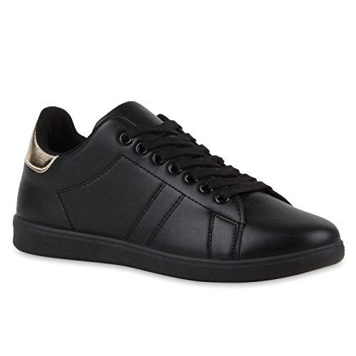Damen Sneakers | Sneaker Low Metallic Cap | Sportschuhe Leder-Optik Glitzer | Freizeit Schnürer Prints Samt | Trainers Allyear All Schwarz Gold