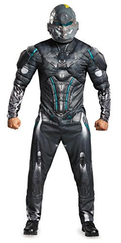 Disguise Men's Halo Spartan Locke Muscle Costume, Black, (Kostüm Spartan Halo)