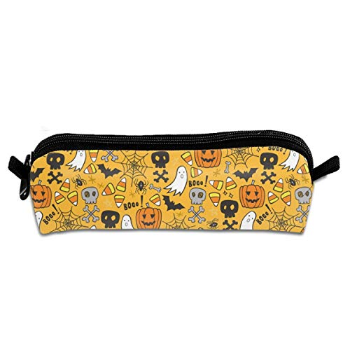 Halloween Doodle With Skulls Bat Pumpkin Spiderweb Ghost On Yellow Orange Pencil Pouch Bag Stationery Pen Case Makeup Box with Zipper Closure 21 X 5.5 X 5 cm