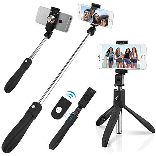 QUMOX Bluetooth Selfie Stick Mirror Supporto per Telecomando monopiede per iPhone Android