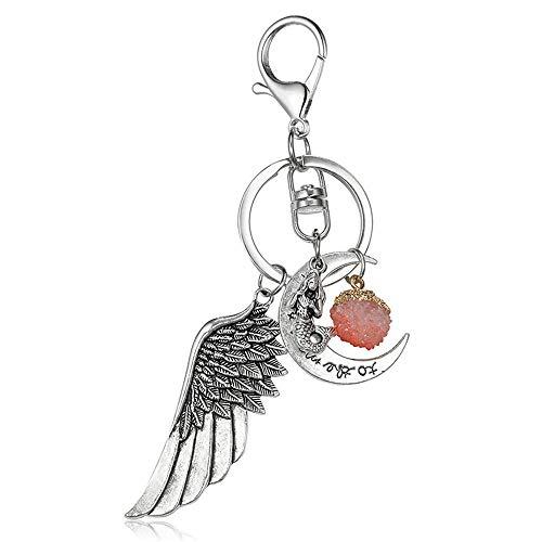 AZXCyJ Schlüsselanhänger Metall Große Flügel Brief Mond Keychain Punk Stil Meerjungfrau Kleines Zubehör (Mond-mann Keychain)