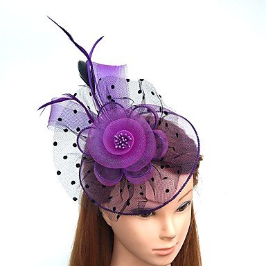 r-/Tüll/Chiffon Headpiece-Wedding/Besondere Anlässe Fascinators 1 Stück, Lila Kopfbedeckung (Schwarze Feder Kranz Halloween)