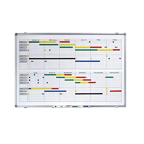 Smit Visual Jahresplaner - BxH 900 x 600 mm - mit Halbjahres- und 365-Tage-Einteilung - Infotafel Magnettafel Magnetwand Planungstafel Präsentationstafel Schreibtafel Tafel Wandtafel Whiteboard