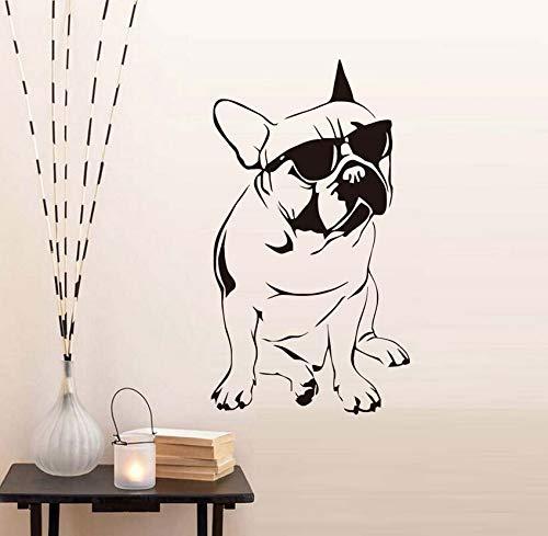 Hübsche Französische Bulldogge Mit Sonnenbrille Wandaufkleber Für Jungen Schlafzimmer Vinyl Tier Wandtattoo 43x77cm
