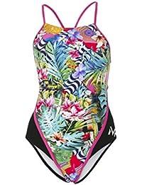 MP Michael Phelps Florez - bañador de mujer de espalda redonda verde/azul, 86,36cm/talla 38, mujer, Florez Round Back, Florez Round Back, 36-Inch/Size UK 12