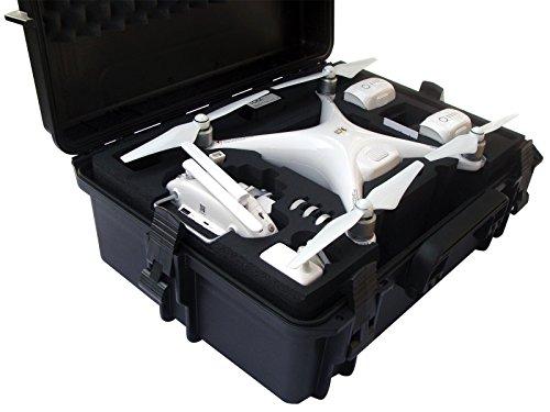 Profi Koffer für DJI Phantom 4 Pro/Pro+/V1.0/2.0/ADV/ADV+/Obsidian in Farben Sahara, orange oder schwarz mit Platz für Kopter + 6 Akkus + viel Zubehör, Outdoor Case wasserdicht IP67 (schwarz/schwarz) - Kunststoff-rotor-gehäuse