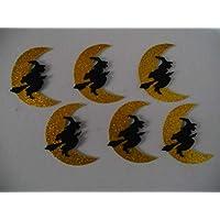 6 Brujas con luna brillante para decorar en halloween de goma eva 9,2 x 7,5 cm Silvys