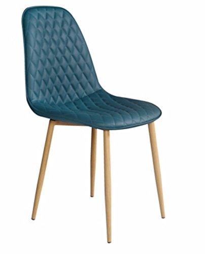 PEGANE Chaise en Tissu Bleue avec Pieds en Bois - Dim : L 45 x P 54 x P 85 cm
