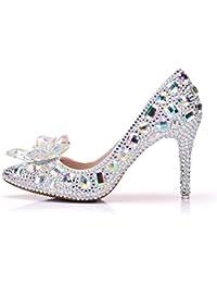 GAIHU Damen Damen Hochzeit Brautschuhe Silver Crystal Strass Stiletto High Heels Pumps prom Kleid Abend Pumps