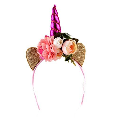artei Kopfschmuck dekoratives Einhorn Blumen Haarband Stirnbänder Headwear (heiß rosa) (Belle-teen-kostüm)