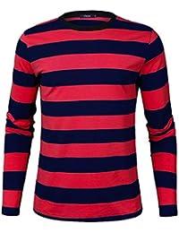 07eaebab56c091 Herren Langarmshirt Longsleeve Leicht Basic Gestreiftes T-Shirt mit  Rundhals Ausschnitt