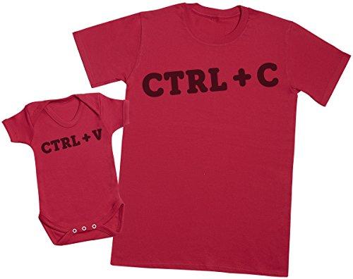 Zarlivia Clothing CTRL C and CTRL V - Passende Vater Baby Geschenkset - Herren T-Shirt & Baby Strampler/Baby Body - S & 6-12 Monate