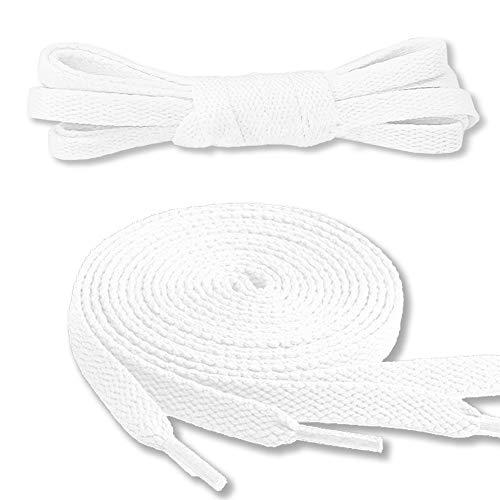 Canwn Flache Schnürsenkel, [3 Paar] Reißfest Ersatz Schuhbänder 100% Polyester 8 mm breit Schnürsenkel für Sportschuhe und Sneaker - Weiß