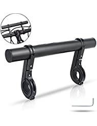 XYXtech Aluminum Handlebar Extender, Extension Mount Holder Space Saver with Double Clamps, Bracket for Bike Light, GPS, Phone, Speedometer (20 CM) (Black)