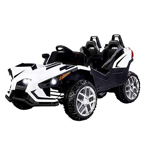 UEnjoy 2 Sitze Kinderauto Auto Elektro für Kinder mit Fernbedienung, 4 Geschwindigkeiten,LED Leuchten,Musik,Weiß