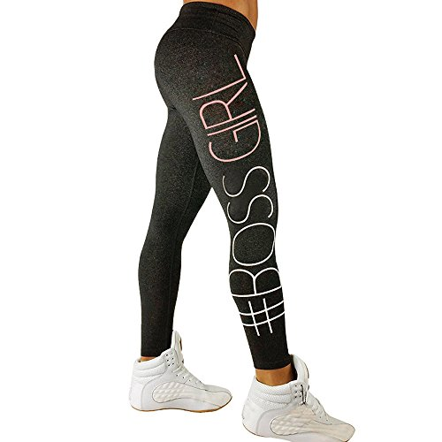 MAYOGO Damen Yoga Training Fitness Leggings mit Sprüchen,Frauen Lange Yogahose Strumpfhosen Shapewear Tights Gym Sport Workout Laufen Hosen