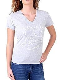 Madonna T-Shirt Damen ODA V-Ausschnitt Never Say Never Print Shirt MF-406906