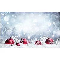 LEDMOMO Fondo de Fotos para Navidad Invierno Copo de Nieve Contexto Bolas Decoración Fotografía Estudio Prop 90x150CM
