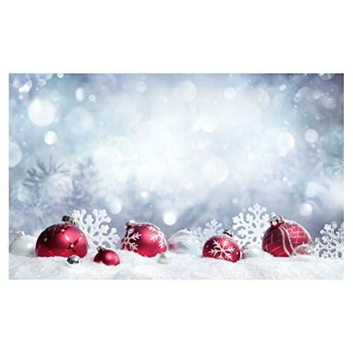 LEDMOMO Foto Hintergrund für Weihnachten Winter Schneeflocke Hintergrund Bälle Dekoration Fotografie Studio Prop 90x150 cm
