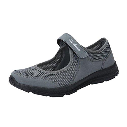QinMM Zapatos Zapatillas Respirable Mocasines deportesMujer Sneaker Malla Plataforma Sandalias Casual Verano (36, Oscuro Gris)