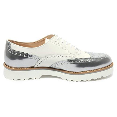 B1696 scarpa inglese donna HOGAN ROUTE FRANCESINA sneaker bianco shoe woman Argento/Bianco