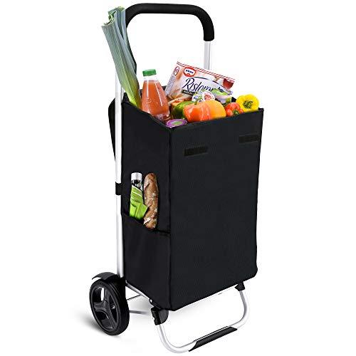 MACORA Einkaufstrolley klappbar in schwarz 36L mit Seitentaschen - Einkaufswagen mit wasserabweisender & abnehmbarer Tasche