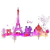 "Summer Thornton ""Paris Skyline"" Canvas Print, Multi-Colour, 60 x 80 cm"