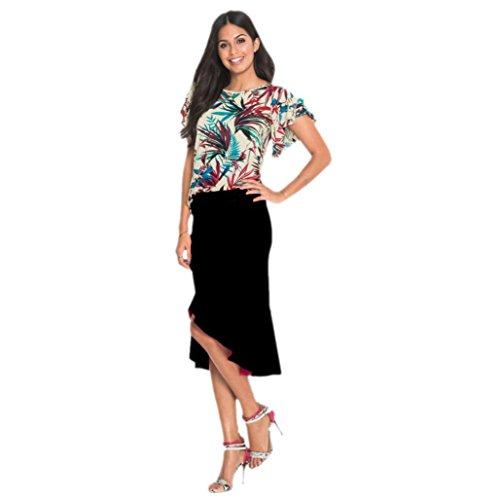 DOLDOA Damen Rock,Frauen Einfarbig Unregelmäßiger Lotus Blatt Knielänge Rock,Lässig Büro Arbeit Rock (Schwarz, EU: (Tasche Kostüm Blatt)