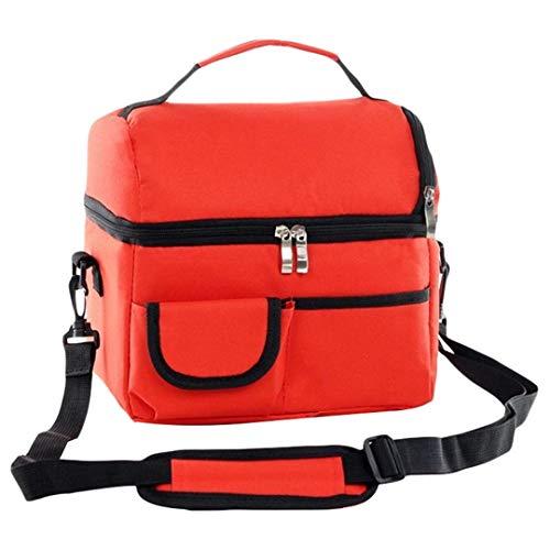 LUNYHHSA Thermische Lunchpaket Für Frauen Kinder Männer Multifunktions Lebensmittel Picknick Kühler Fall Isolierte Tragetaschen Vorratsbehälter red